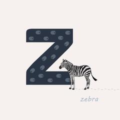 Vector illustration. Blue letter Z with zebra tracks, a cartoon zebra. Animal alphabet.