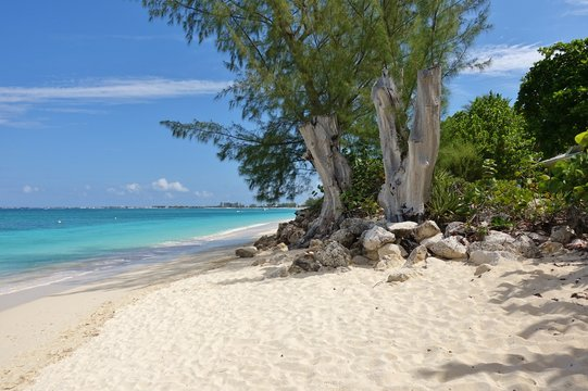 View of the Seven Mile Beach in Grand Cayman