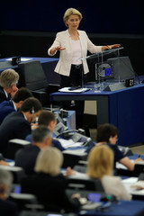 Designated European Commission President von der Leyen delivers a speech during a debate on her election at the European Parliament in Strasbourg