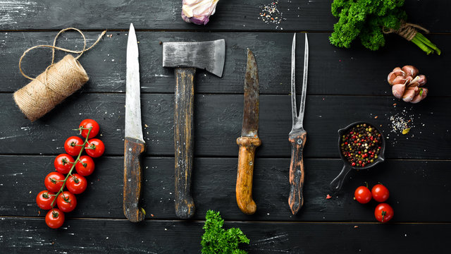 BBQ banner. Cutlery barbecue. Top view. Free space for your text. Rustic style.