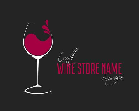 Glass of Wine with splash logo design
