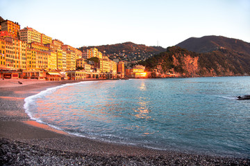 sunset on the beach in Camogli. Ligury, Italy
