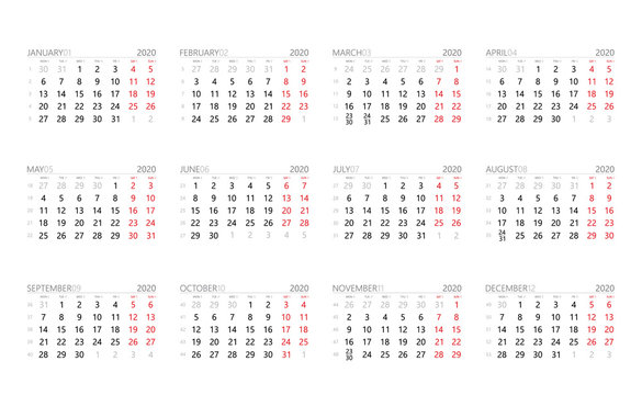 Calendar 2020 year grid months with week numbers and solar system symbols