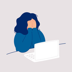 Fototapeta Disheveled woman sits at the computer and crying covering her face with her hands. Weeping woman emotions grief. Concept of solitude and loneliness.  Cartoon vector illustration in flat style obraz