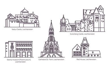 Set of Liechtenstein landmarks in thin line Fototapete