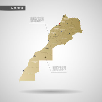 Stylized vector Morocco map.  Infographic 3d gold map illustration with cities, borders, capital, administrative divisions and pointer marks, shadow; gradient background.