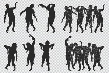 Zombie black silhouette. Vector Halloween icons set isolated on a transparent background.