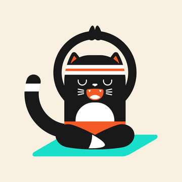 Cute black cat in yoga pose. Funny vector cartoon pet character isolated on a background.