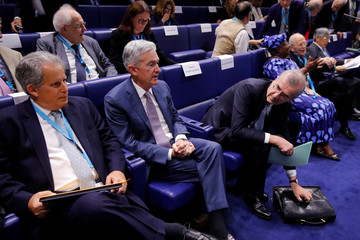 """Governor of the Bank of France de Galhau, Federal Reserve Board Chairman Powell and International Monetary Fund (IMF) Deputy Managing Director Lipton attend a conference entitled """"Bretton Woods: 75 years later"""" in Paris"""