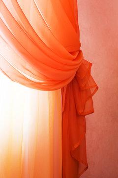 translucent red curtains