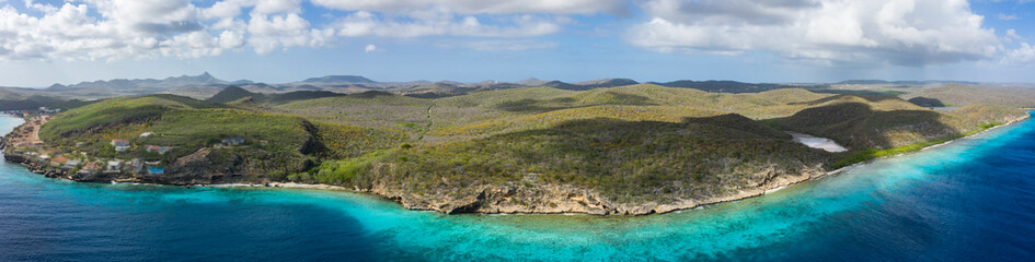 Aerial view over area Playa Hundu - Curaçao/Caribbean /Dutch Antilles Wall mural