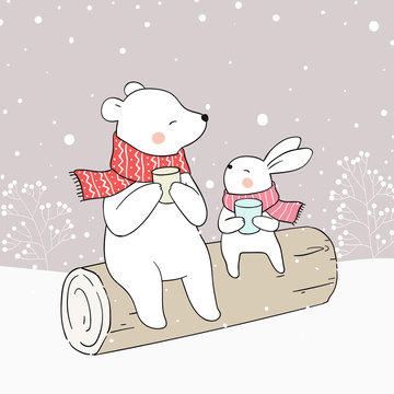 Draw bear and rabbit drink hot tea in snow.