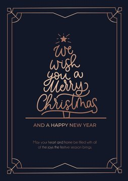 We wish you a Merry Christmas greeting card with rose gold lines and navy blue background. Christmas tree with lettering and linear frame. Vector illustration