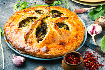 Fototapeta Vegetable pie with mushrooms obraz