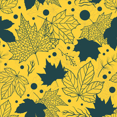 Vibrant Beautiful floral leaves seamless pattern, hand drawn maple leaves, creative line art background, great for fall seasonal fabric fashion prints, autumn banners, wallpapers vector surface design