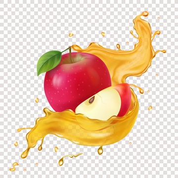 Apple juice realistic spiral splash vector icon