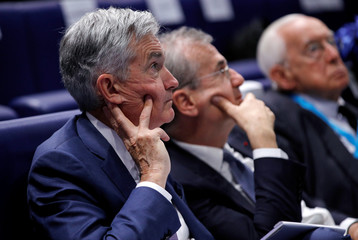 """Governor of the Bank of France Villeroy de Galhau and Federal Reserve Board Chairman Powell attend a conference entitled """"Bretton Woods: 75 years later"""" in Paris"""