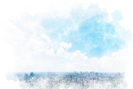 東京の風景 Tokyo city skyline , Japan. Illustration of watercolor painting style.