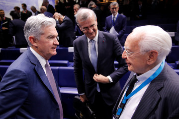 """Governor of the Bank of France Villeroy de Galhau, Federal Reserve Board Chairman Powell and former Bank of France and IMF director de Larosiere attend a conference entitled """"Bretton Woods: 75 years later"""" in Paris"""