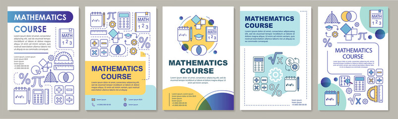 Mathematics course, math lessons brochure template layout. Flyer, booklet, leaflet print design with linear illustrations. Vector page layouts for magazines, annual reports, advertising posters