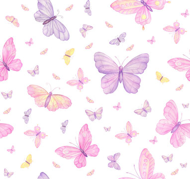 butterflies on white background, seamless pattern, digital paper, textile,