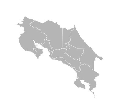 Vector isolated illustration of simplified administrative map of Costa Rica. Borders of the provinces (regions). Grey silhouettes. White outline