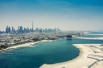 Aerial view on Dubai, UAE, on a summer day