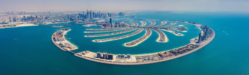 Foto auf Gartenposter Dubai Aerial view on Palm Jumeira island in Dubai, UAE, on a summer day.