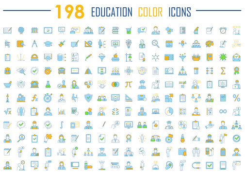 Education color icons big set. School, university, home learning, self study, business education. Educational program, students graduation. E learning, online courses. Isolated vector illustrations