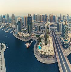 Scenic aerial view of Dubai Marina, UAE. Travel background.