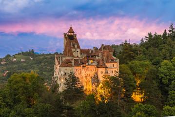 Wall Mural - Landscape with medieval Bran castle at sunset, Brasov landmark, Transylvania, Romania