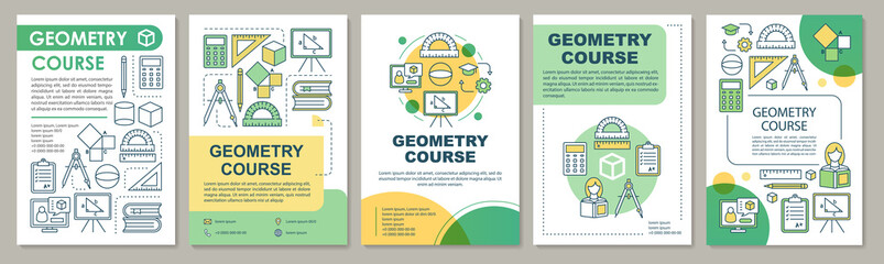 Geometry course, study brochure template layout. Flyer, booklet, leaflet print design with linear illustrations. Vector page layouts for magazines, annual reports, advertising posters