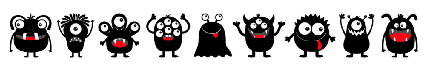 Happy Halloween. Monster black round silhouette icon set line. Eyes, tongue, tooth fang, hands up. Cute cartoon kawaii scary funny baby character. White background. Flat design.