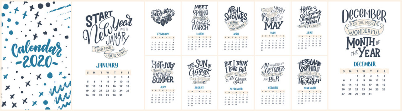 Modern typography lettering compositions. 2020 calendar with funny motivation quotes. Hand drawn illustrations. Trendy slogan, vector graphic