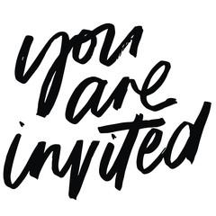 You are invited brush lettered invitation heading. Invitation heading.