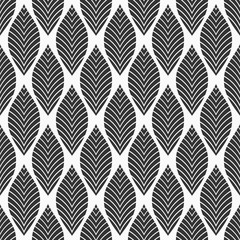 Seamless floral pattern. Geometric texture made of leaves. Vector monochrome background.