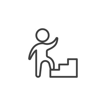 Job career ladder line icon. Upstairs linear style sign for mobile concept and web design. Human on ladder outline vector icon. Achievement symbol, logo illustration. Vector graphics
