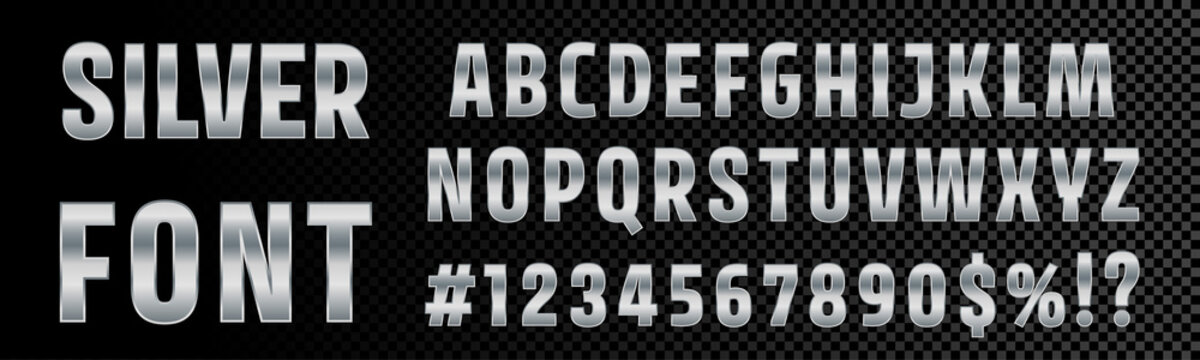 Silver font numbers and letters alphabet typography. Vector chrome metallic silver font type, 3d metal texture gradient effect