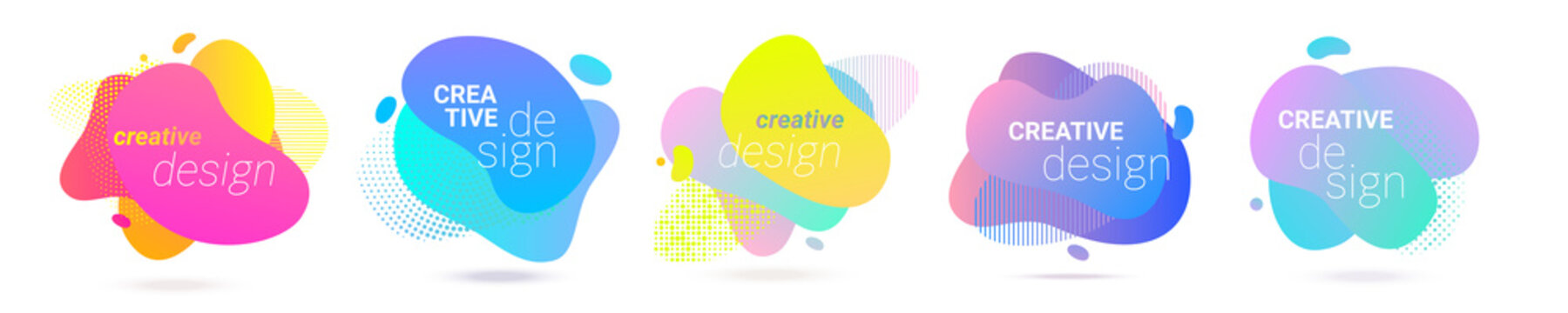 Color gradient abstract liquid splash shape, vector halftone pattern background design. Fluid color gradient overlap halftone graphic background