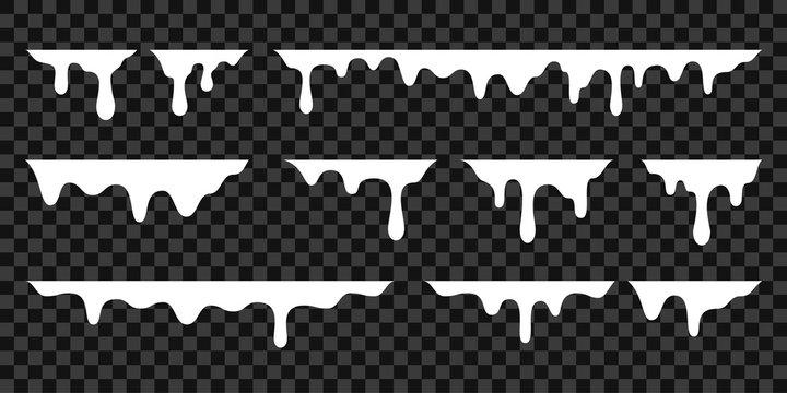 White melt drips, milk yogurt flowing drops. Vector graffiti liquid drip splatter, white cream leak drop splash
