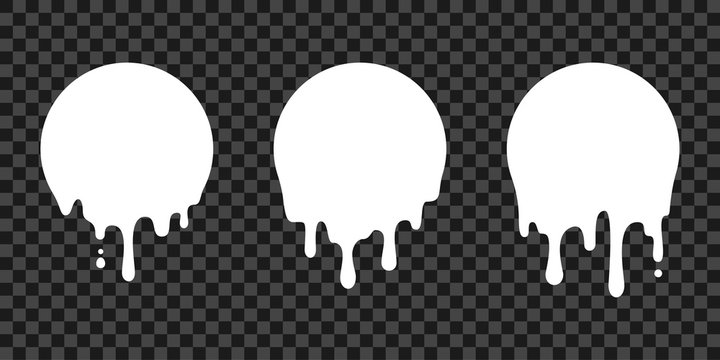 Paint drip stickers, circle white melt drop vector icons. Vector milk circle melt drops, graffiti paint drip blobs