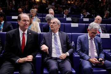 """Governor of the Bank of France Villeroy de Galhau, World Bank President Malpass and Federal Reserve Board Chairman Powell attend a conference entitled """"Bretton Woods: 75 years later"""" in Paris"""