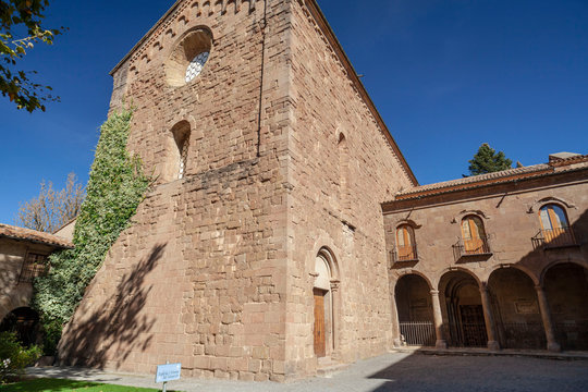 Sant Joan de les Abadesses, Catalonia, Spain. Exterior view of Monastery of Sant Joan, romanesque and gothic style.