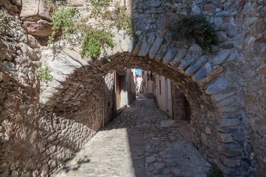 Sant Joan de les Abadesses, Catalonia, Spain. Ancient stone street village rural houses.