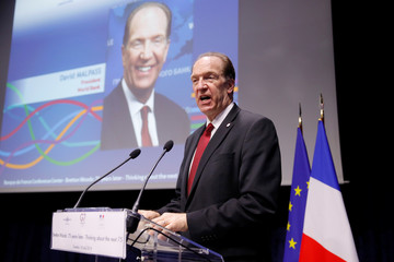"World Bank President David Malpass delivers a speech during a conference entitled ""Bretton Woods: 75 years later"" in Paris"