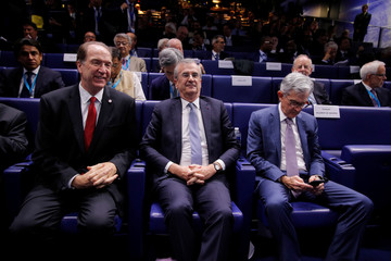 "Governor of the Bank of France Villeroy de Galhau, World Bank President Malpass and Federal Reserve Board Chairman Powell attend a conference entitled ""Bretton Woods: 75 years later"" in Paris"
