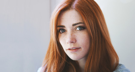 ee88b3ca3 young woman with red hair and freckles - redhead girl with freckly or  freckled face -