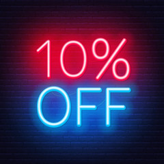 Fototapete - 10 percent off neon lettering on brick wall background. Vector illustration