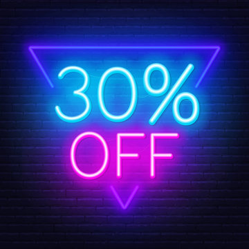 30 percent off neon lettering. Vector illustration