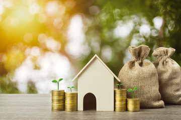 Saving money or property investment or buy a new home concept. A small house model with growth plant on stack of coins and money bag on wood table. Depicts sustainable financial goal.